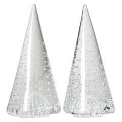 1980s Cenedese Italian Pair of Vintage Crystal Murano Glass Obelisks Sculptures