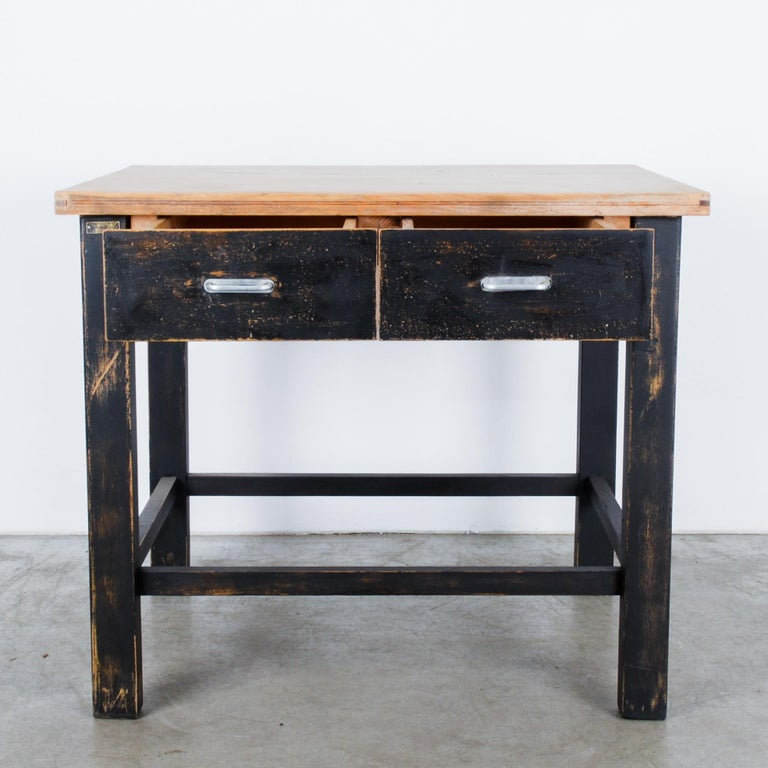 Industrial 1980s Central European Wooden Work Table For Sale