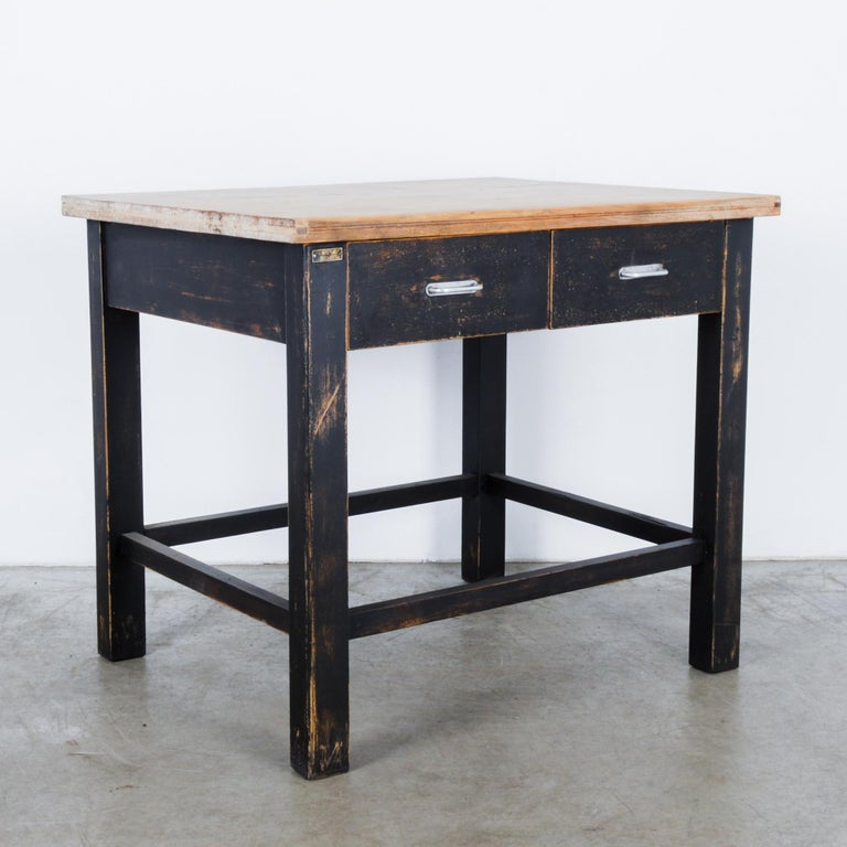 Polish 1980s Central European Wooden Work Table For Sale