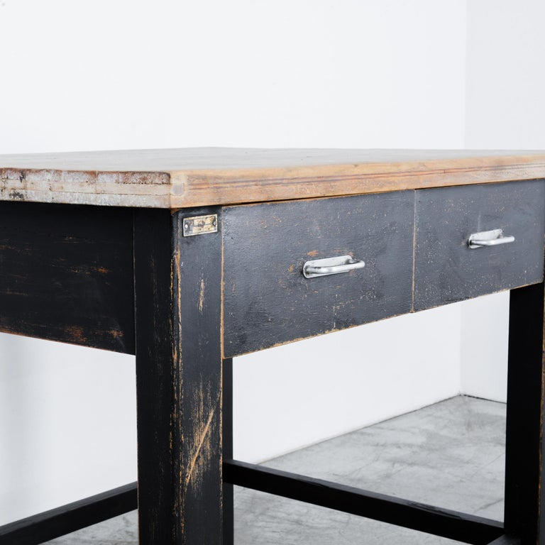 Metal 1980s Central European Wooden Work Table For Sale
