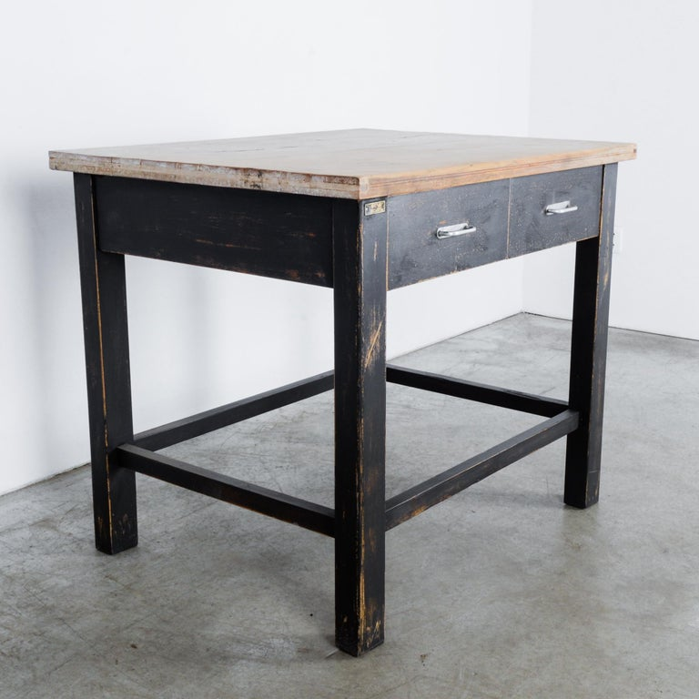 1980s Central European Wooden Work Table For Sale 1