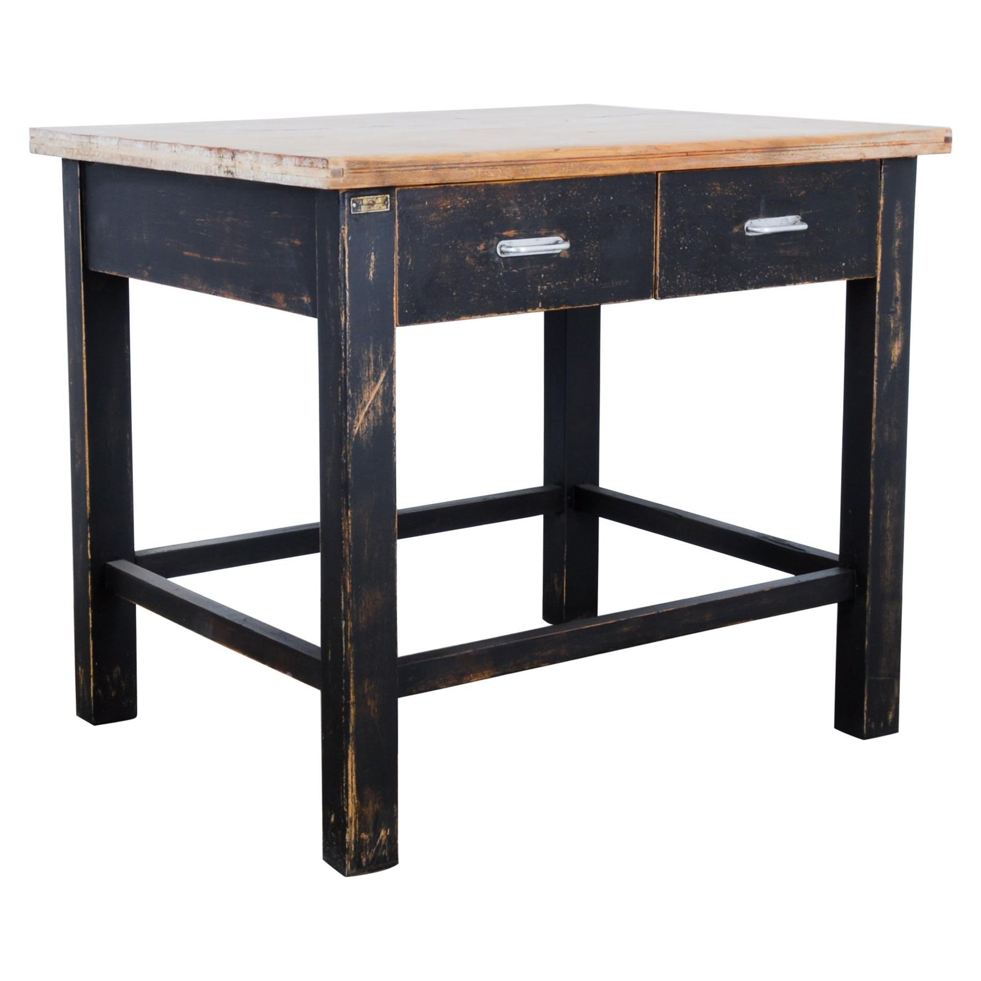 1980s Central European Wooden Work Table