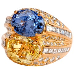 1980s Certified GIA Natural No Heat Sapphire Diamond 18 Karat Gold Cocktail Ring