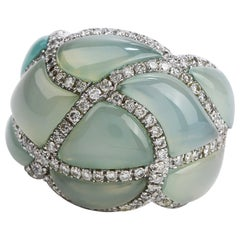 1980s Aquamarine Diamond 18 Karat Gold Dome Cocktail Ring