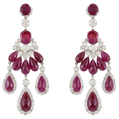 1980s Chandelier 18 Karat White Ruby and Diamond Earring