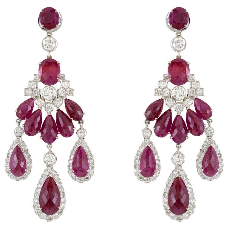 1980s Chandelier 18 Karat White Ruby and Diamond Earring For Sale