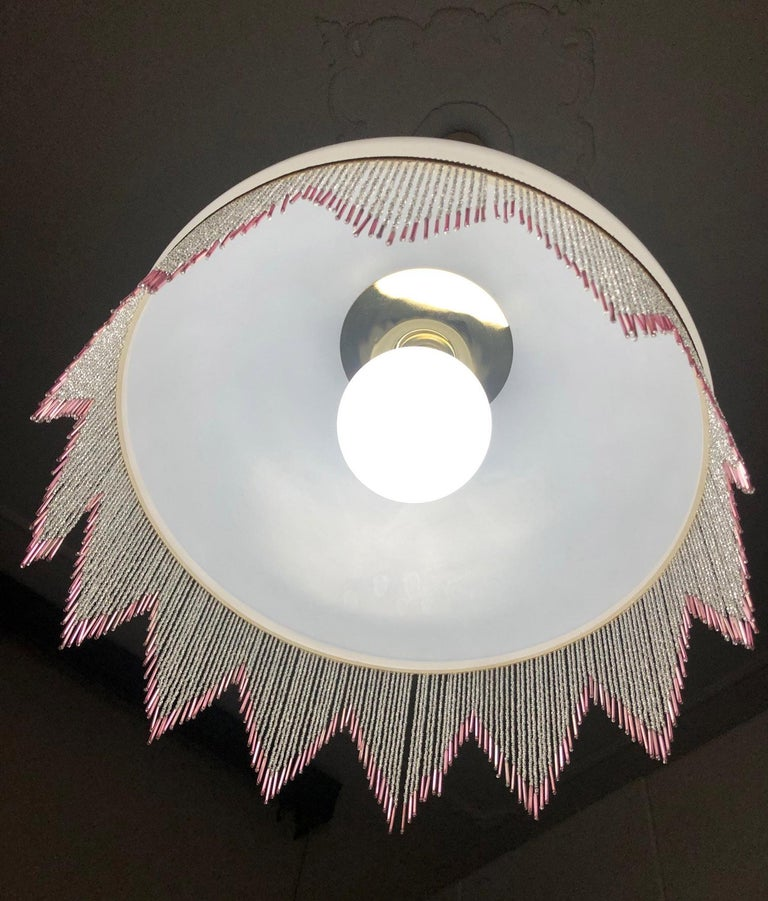 Country 1980s Chandelier Glass White, Italy For Sale