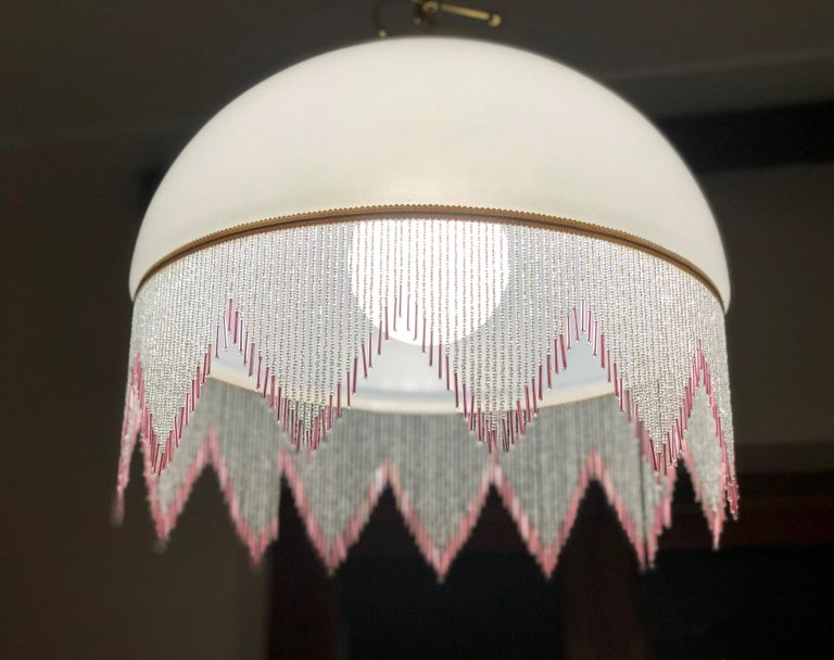1980s Chandelier Glass White, Italy In Good Condition For Sale In Buggiano, IT