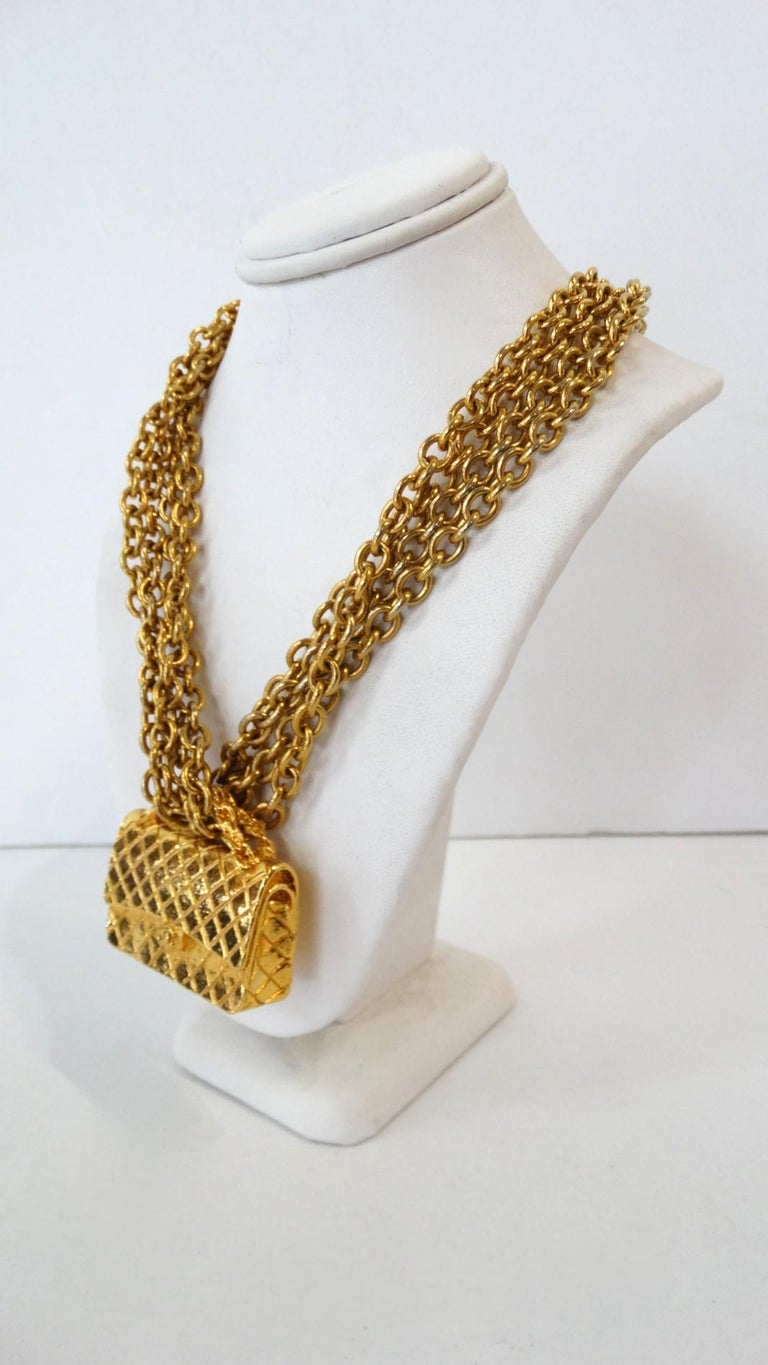 1980s Chanel 2.55 Classic Handbag Double Chain Necklace  In Good Condition For Sale In Scottsdale, AZ