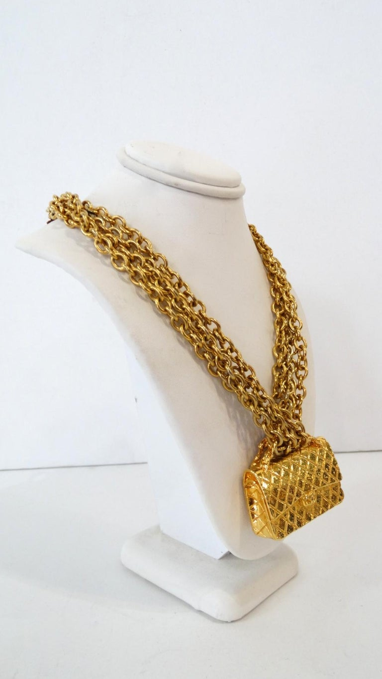 1980s Chanel 2.55 Classic Handbag Double Chain Necklace  For Sale 1