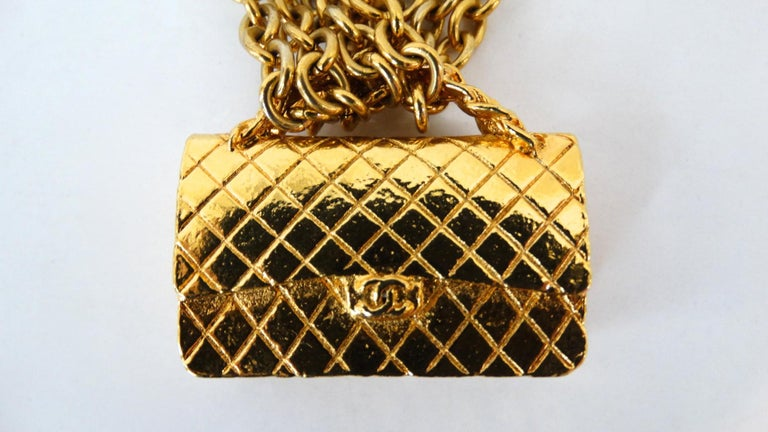 1980s Chanel 2.55 Classic Handbag Double Chain Necklace  For Sale 3