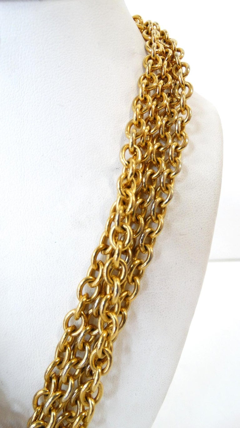 1980s Chanel 2.55 Classic Handbag Double Chain Necklace  For Sale 4