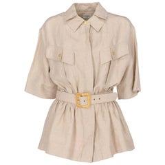 1980s Chanel Beige Linen Belted Jacket