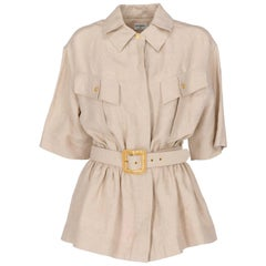1980s Chanel Beige Linen Belted Jacket