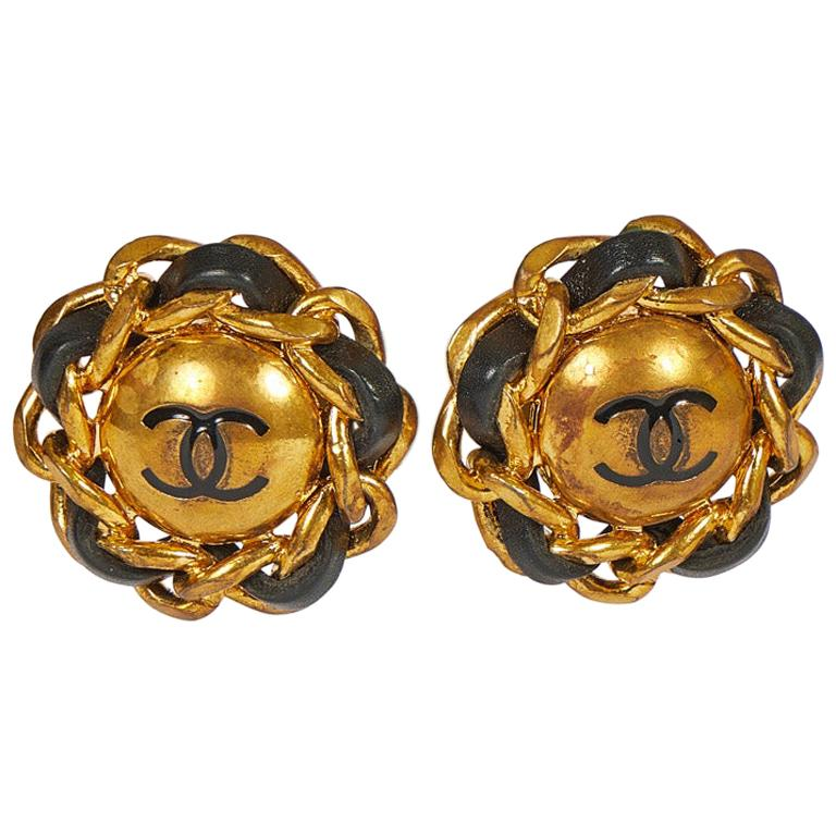 1980's Chanel Black Leather Large Clip Earrings For Sale