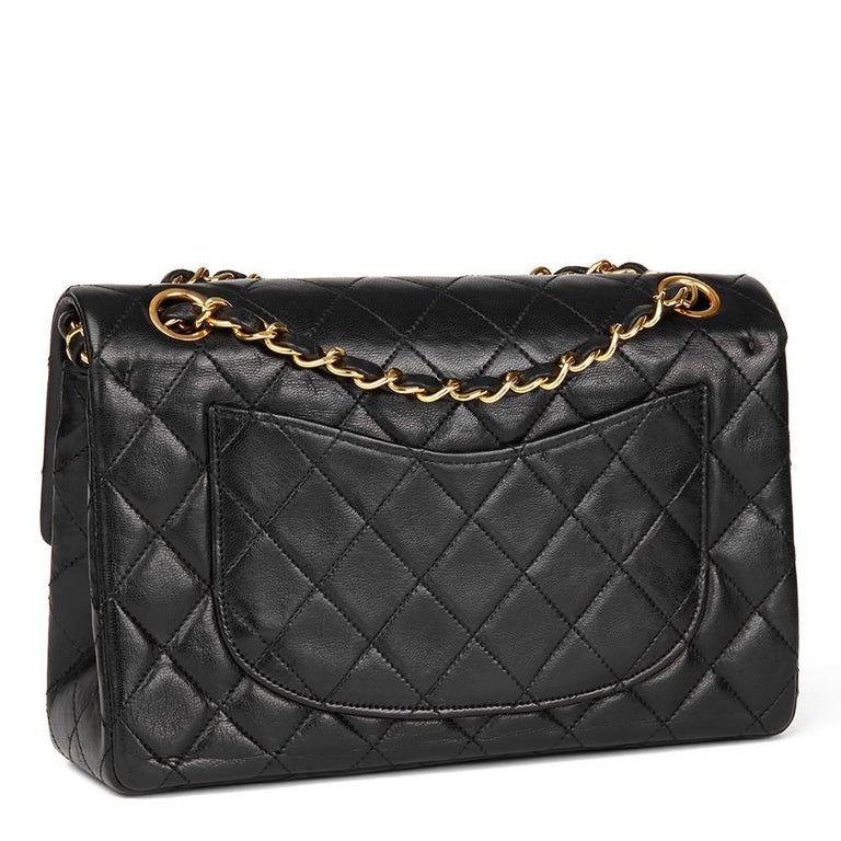 bfee94429ddf Women's 1980's Chanel Black Quilted Lambskin Vintage Small Classic Double  Flap Bag For Sale