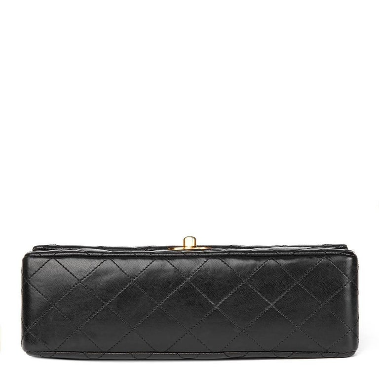 efb6577d69af 1980's Chanel Black Quilted Lambskin Vintage Small Classic Double Flap Bag  For Sale 1
