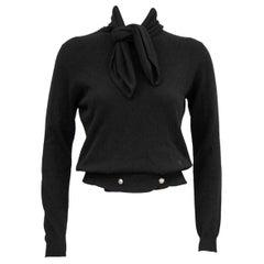 1980s Chanel Black Scottish Cashmere Sweater with Necktie and Hip 1/2 Belt