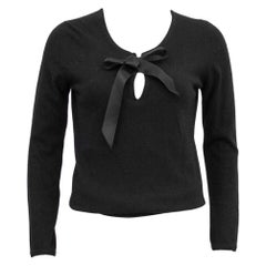 1980s Chanel Black Scottish Cashmere Sweater with Thread Through Satin Bow