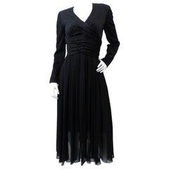 1980s Chanel Boutique Black Evening Dress