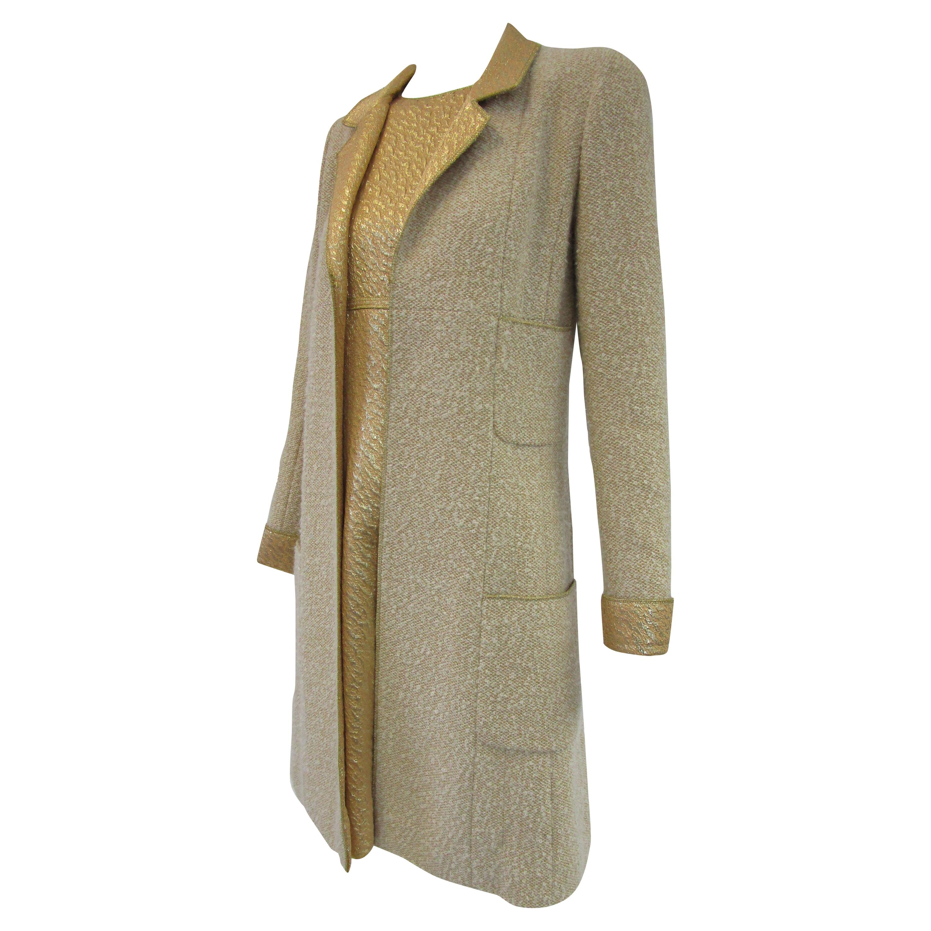 1996 Chanel by Lagerfeld Golden Boucle and Lame Shift Dress and Coat