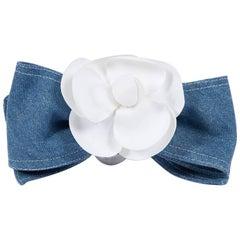 1980s Chanel Camellia Denim Hair Clip