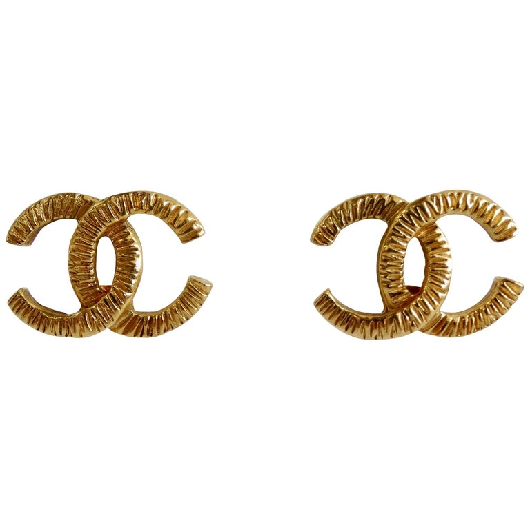 1980s Chanel 'CC' Clip-On Earrings  For Sale