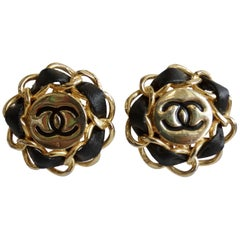 1980s Chanel 'CC' & Leather Clip-on Earrings