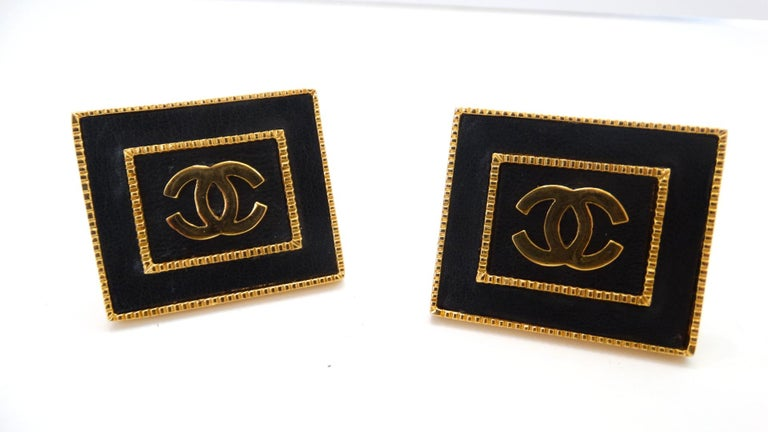 1980s Chanel CC Leather Rectangle Clip On Earrings For Sale 6