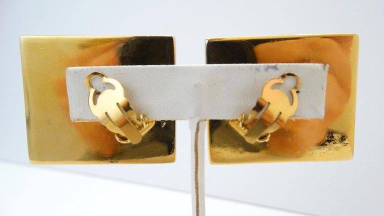 1980s Chanel CC Leather Rectangle Clip On Earrings For Sale 2