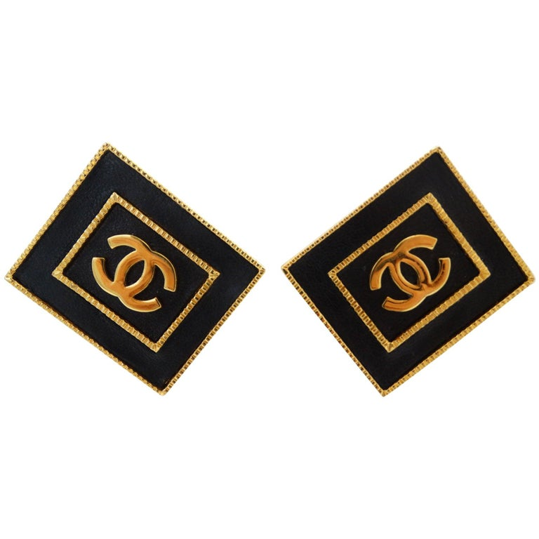 1980s Chanel CC Leather Rectangle Clip On Earrings For Sale