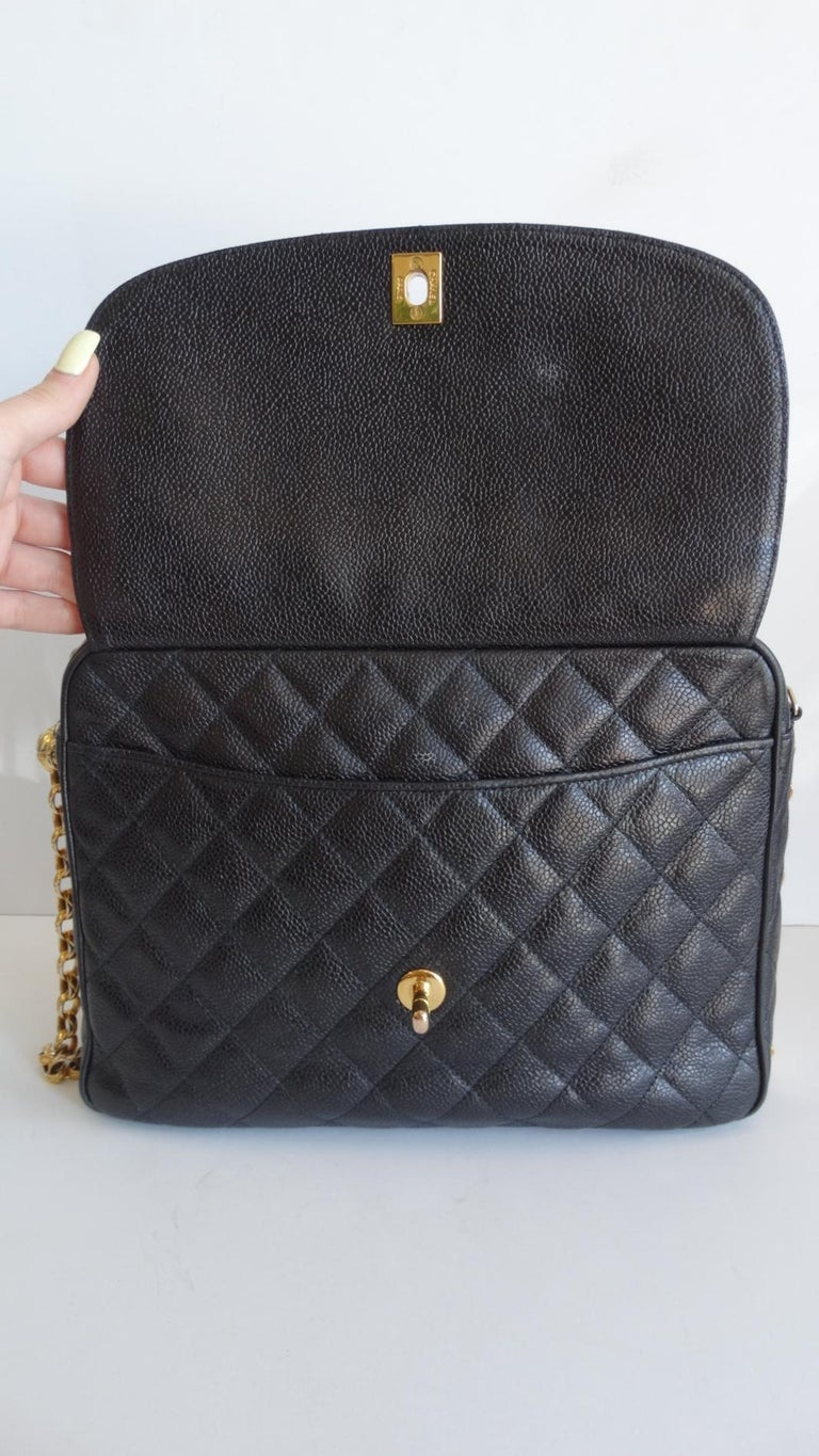 1980s Chanel Classic Black Caviar Leather Bag  For Sale 6