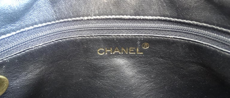 1980s Chanel Classic Black Caviar Leather Bag  For Sale 9