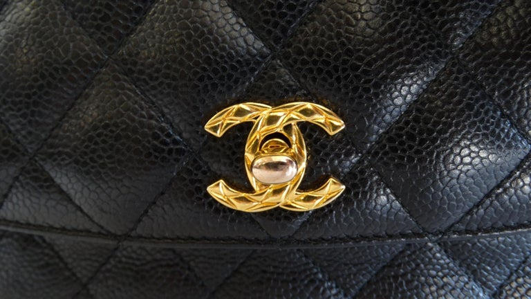 1980s Chanel Classic Black Caviar Leather Bag  In Good Condition For Sale In Scottsdale, AZ