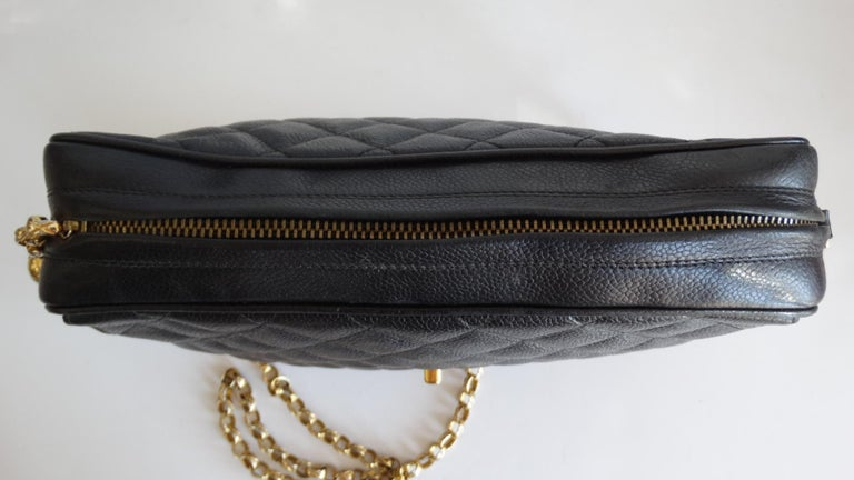 Women's or Men's 1980s Chanel Classic Black Caviar Leather Bag  For Sale