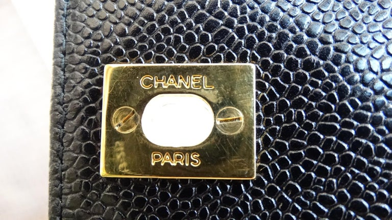 1980s Chanel Classic Black Caviar Leather Bag  For Sale 1