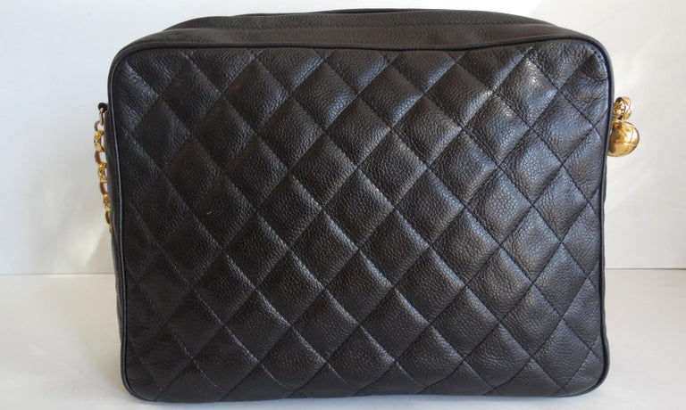 1980s Chanel Classic Black Caviar Leather Bag  For Sale 2