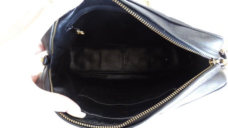 1980s Chanel Classic Black Caviar Leather Bag  For Sale 4