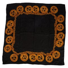 """1980's Chanel Collectible Wool 52"""" Coin Print Shawl Scarf"""