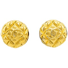 1980's Chanel Collection 25 Gold Quilted Clip Earrings