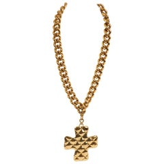 1980's Chanel Gold Oversize Quilted Cross Pendant Necklace with Box
