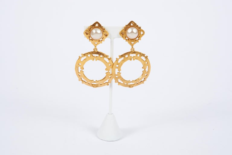 Women's 1980's Chanel Gold Pearl Large Dangle Earrings For Sale