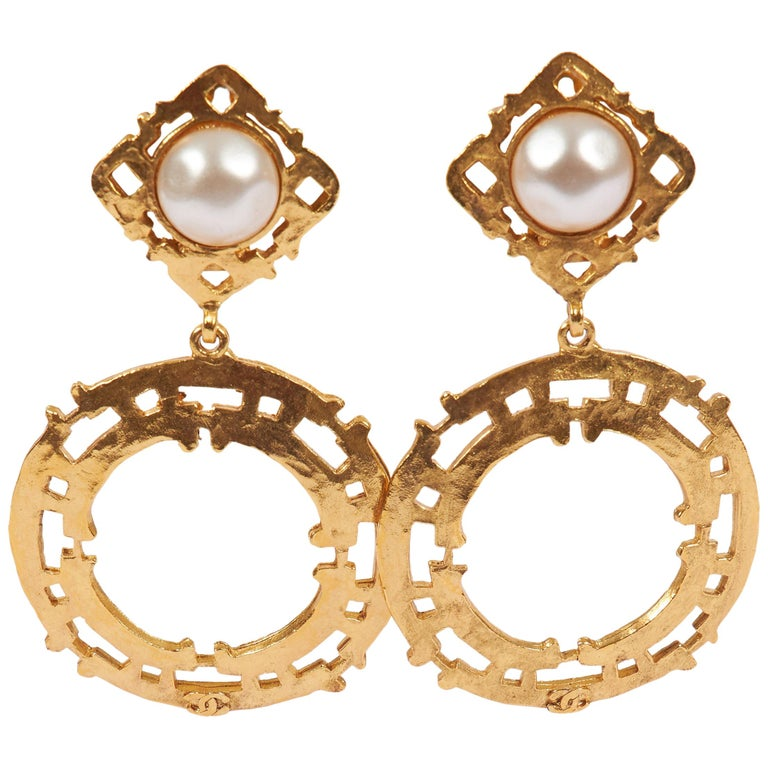 1980's Chanel Gold Pearl Large Dangle Earrings For Sale