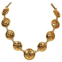 1980s Chanel Gold Quilted Choker Necklace