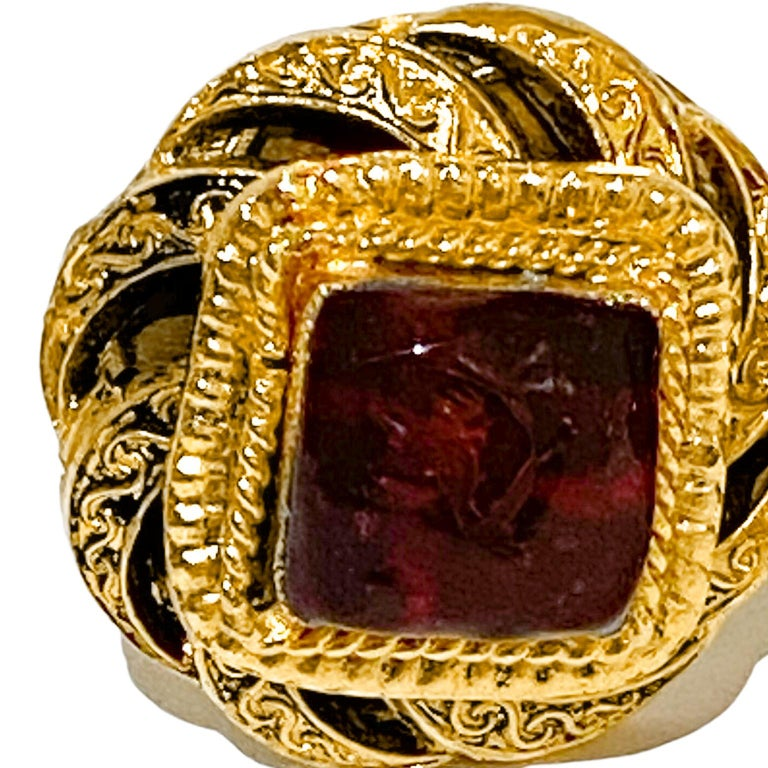Women's 1980s Chanel Gold Tone and Red Poured Glass Earrings For Sale