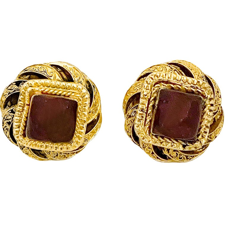 1980s Chanel Gold Tone and Red Poured Glass Earrings For Sale