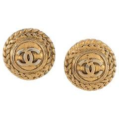 1980s Chanel Gold Tone Clips Earrings