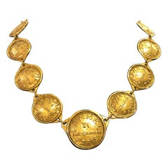 1980s CHANEL Gold Toned 31 Rue Cambon Paris Coin Necklace