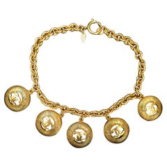 1980s Chanel Gold Toned Five CC Charm Chain Necklace