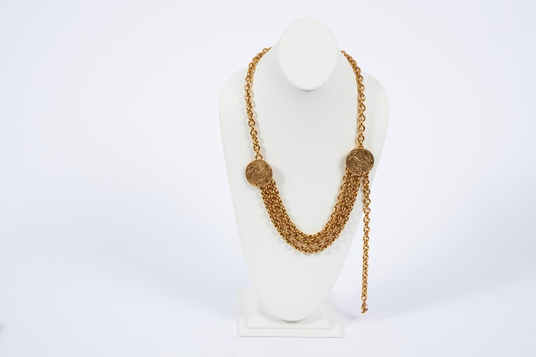 1980s Chanel Gold Triple Chain Belt Necklace In Excellent Condition For Sale In West Hollywood, CA
